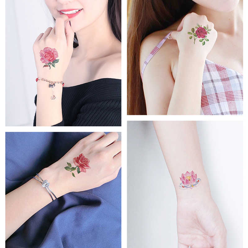 Mini Body Art Waterdicht Tijdelijke Tatoeages Voor Vrouwen Schoonheid Bloem Ontwerp Flash Tattoo Sticker