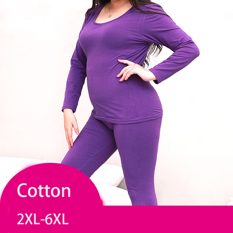 Women Autumn Winter  Plus Large Big Size Cotton Thermal Underwear Set Long Johns Top And Bottoms 2XL-6XL