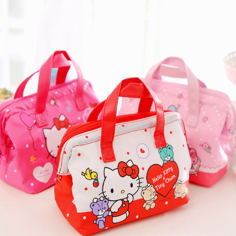 Hello Kitty Cute Lunch Box Bag Women's Kid's Portable Travel Thermal Insulated Lunch Tote Cooler Fresh Insulation Plush Backpack