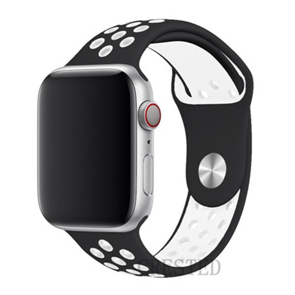 Спортивный ремешок для apple watch band 44 мм/40 мм apple watch 5 4 3 band iwatch band 5 42 мм/38 мм correa браслет ремень аксессуары для часов - Цвет ремешка: black white 11