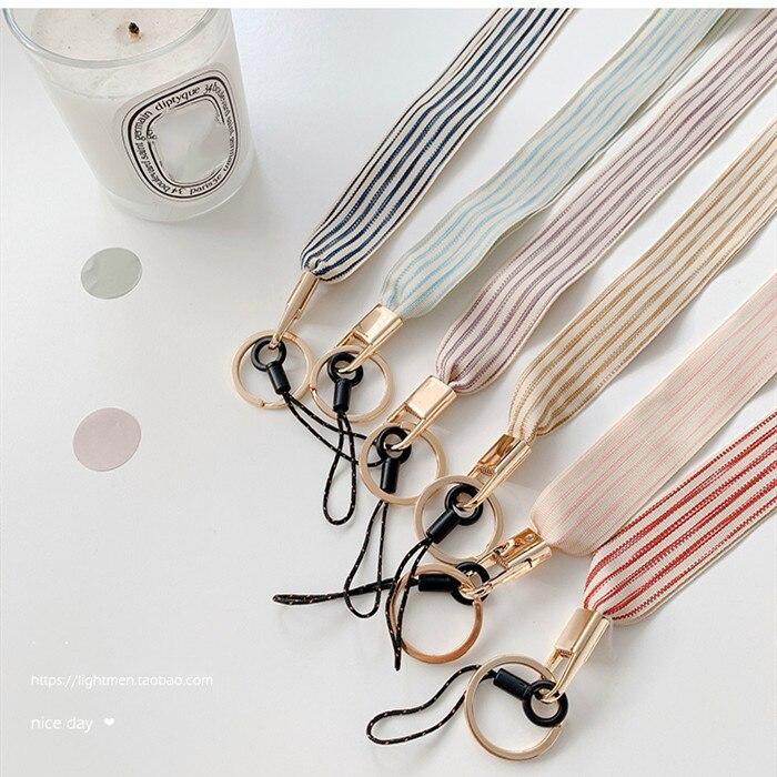 Coreia simples pano pescoço cinta cordão id cartão destacável para iphone 11 pro max 6 7 8 xs max para mp3 mp4 cartão cordão para llaves