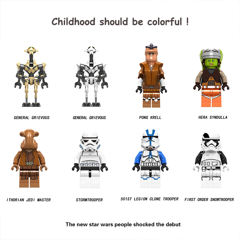 Legoed General Grievous Star Wars Building Blocks Hera Syndulla Pong Krell 501ST Clone Trooper Models Figures Toys For Children