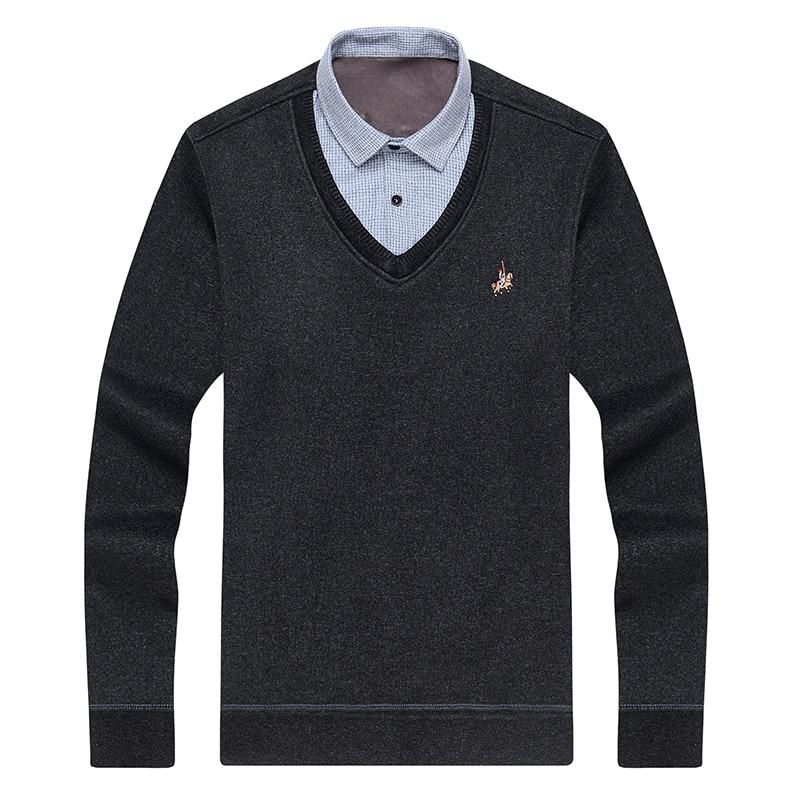 Aoliwen Men Sweater Shirt Colar Combination Plus Velvet Thickening Winter Keep Warm Men Clothes Fleece Lining Soft Winter Shirts
