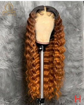 Orange Ginger Wig Deep Wave 13x6 Lace Front Human Hair Wigs PrePlucked Colored Human Hair Wigs For Black Women Nabeauty 150