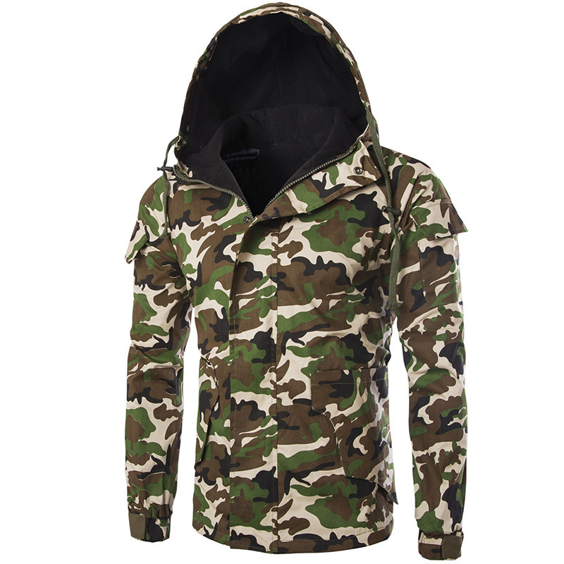 Men's Thick Warm Camouflage Printed Zipper Long Sleeve Hooded Multi-pocket Coat Male Fashion Casual Outerwear