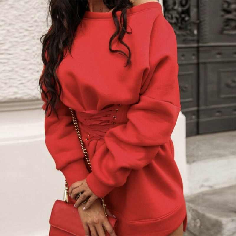 Vestido grueso de lana de moda femenina + Vestido de banda de vendaje de la cintura Vestido de manga larga de cuello redondo sólido de las mujeres del otoño