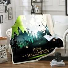 Halloween Sherpa Fleece Blanket Cartoon Pumpkin Lantern Microfiber Black Bat Skull Print 3D Warm for Kids