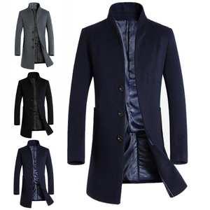 Men Coats Jackets Blends Woolen Warm Single-Breasted-Design Winter Slim Solid Long Thick