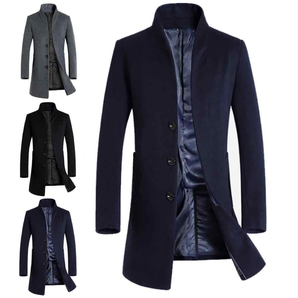 짙은 남성 코트 자켓 겨울 따뜻한 솔리드 컬러 모직 트렌치 블렌드 슬림 롱 코트 남성 트렌치 코트 싱글 브레스트 디자인