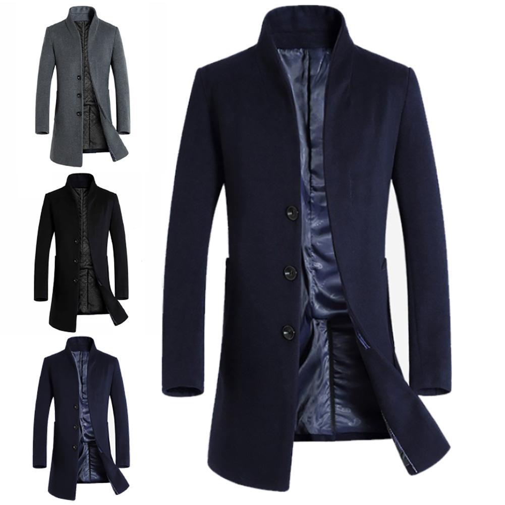 Thickened Men Coats Jackets Winter Warm Solid Color Woolen Trench Blends Slim Long Coat men trench coat single breasted design