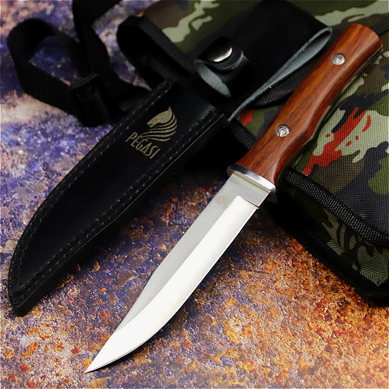 PEGASI  Japanese Outdoor Straight Knife Fishing Knife Jungle Hunting Knife Outdoor Sharp Tactical Knife Slicing Bone Cutter