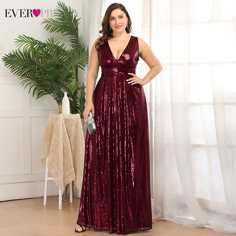 Plus Size Sequined Evening Dresses Ever Pretty EP00825 A-Line Deep V-Neck Sleeveless Sexy Sparkle Long Party Gowns Robe Longue