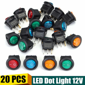 цена на 20 PCS Four Colors 12V 3Pins LED Rocker Toggle SPST Switch Dot Light Car Boat Auto Round ON/OFF