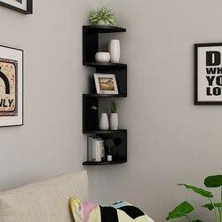 Étagère de rangement en bois écologique | Coin en bois écologique, étagère d'angle à 5 niveaux, étagère de rangement murale pour bibliothèque murale, étagère de rangement Type d'insertion de boulons