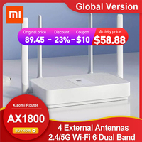 Xiaomi-Mi AX1800 wi-fi 6 Dual Band Wireless Router ، إصدار عالمي ، راوتر ، 5-Core ، 4 هوائيات خارجية ، معزز إشارة