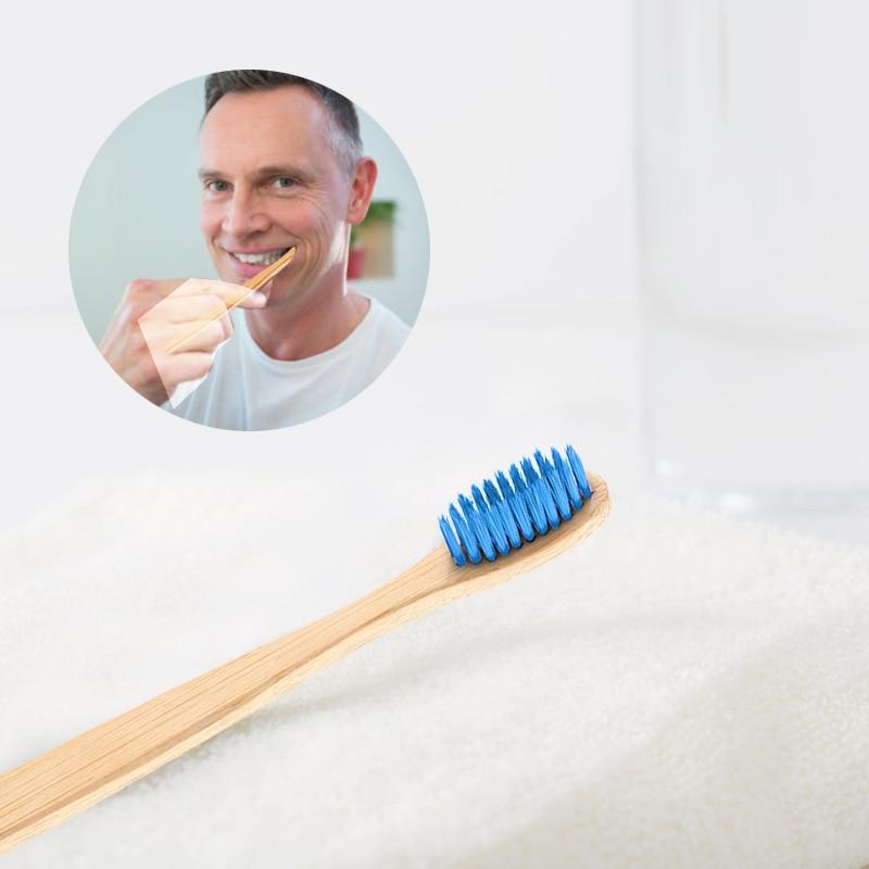 1 adet diş fırçası doğal bambu diş fırçası düz bambu kolu yumuşak kıl yetişkin diş fırçası bambu kolu ağız hijyeni