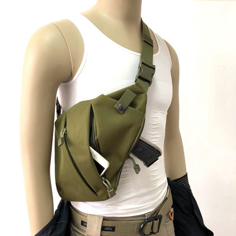 Concealed Tactical Bag Storage Gun Bag Holster Men's Left Right Nylon Shoulder Bag Anti-theft Chest Bag Hunting Sling XA696WA