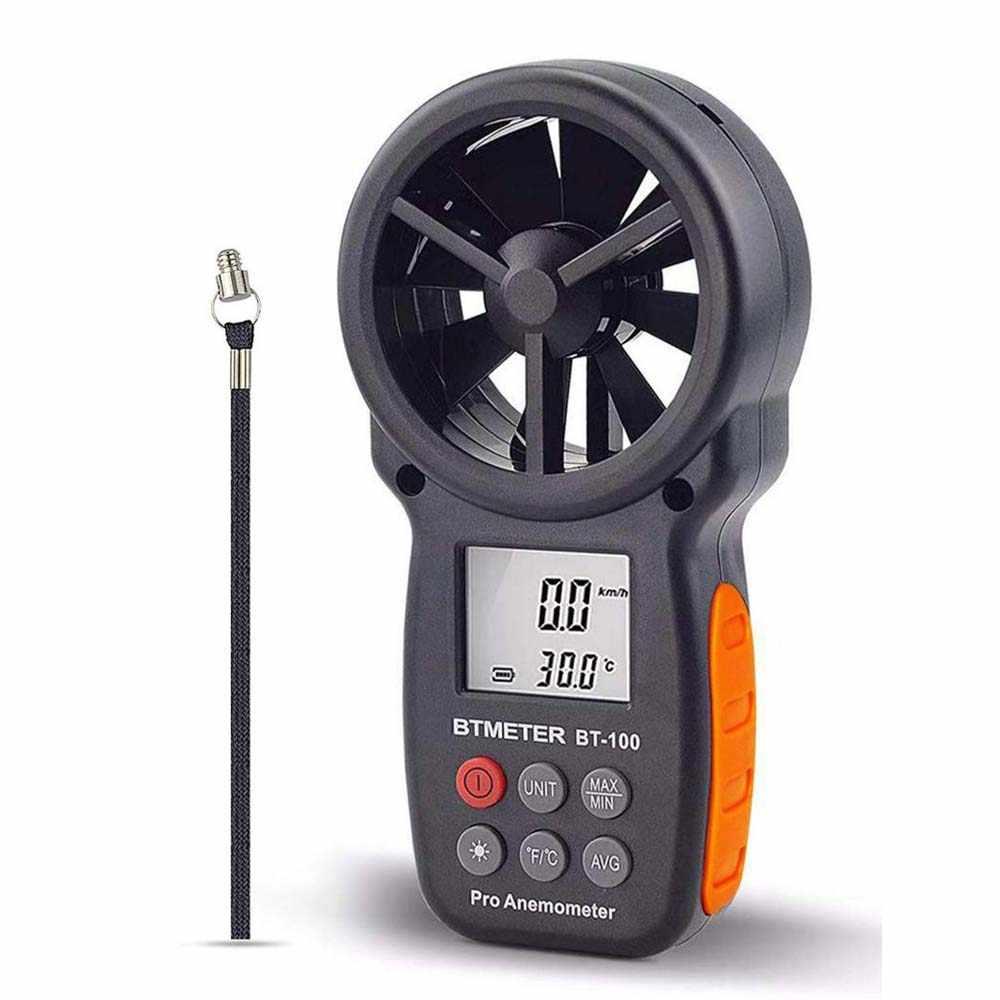 مقياس رقمي لشدة الرياح المحمولة مقياس سرعة الرياح BT-100 لقياس سرعة الرياح ودرجة الحرارة والرياح البرد مع الخلفية LCD