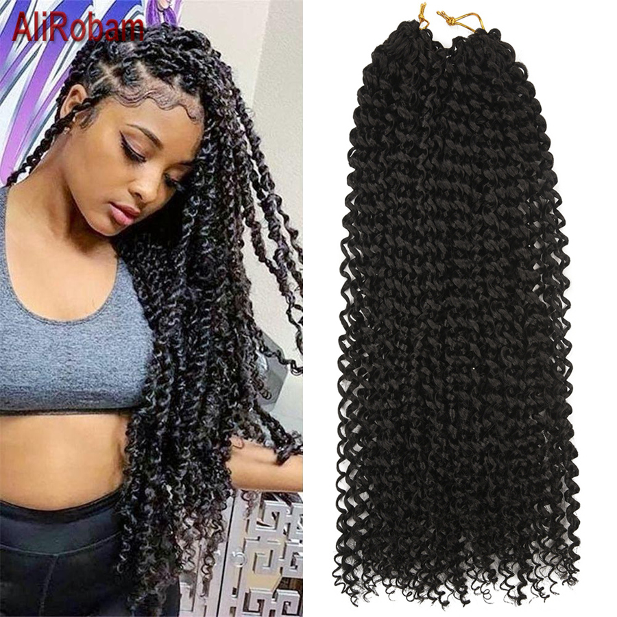 18Inch Passion Twist Crochet Hair Extension Synthetic Pre-Looped Fluffy Black Brown Ombre Crochet Braids For Passion Twist image