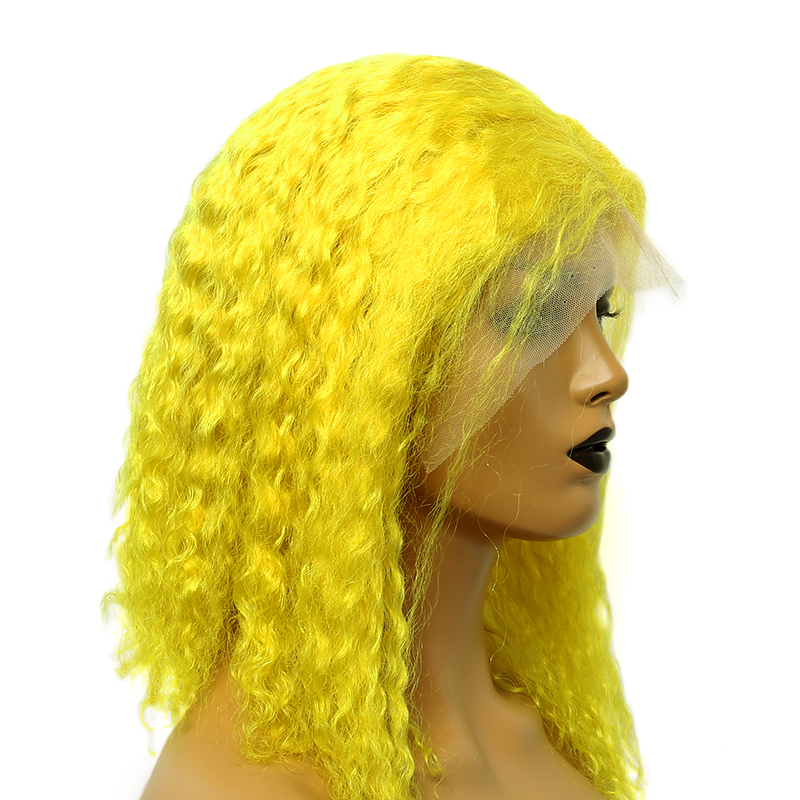 Yellow Color Lace Front Human Hair Wigs For Black Women 13x4 Brazilian Curly Human Hair Wigs 150 Short Bob Wigs Ever Beauty Remy