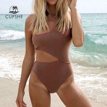 Cupshe um ombro cortar um pedaço maiô feminino praia sólida maiô 2020 menina simples maiôs