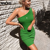 Aproms One Shoulder Ribbed Knitted Summer Dress Women Sexy Sleeveless Bodycon Mini Dresses Club Party Sundresses Vestidos 2020