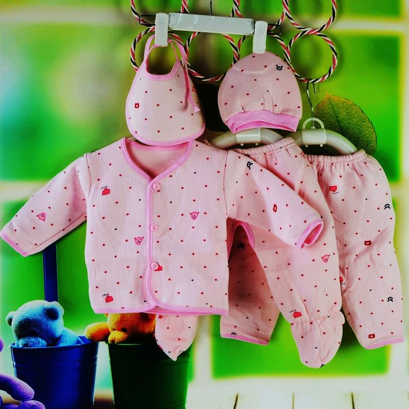 Newborns Gift Box Warm Clothes Pants Hat Bibs Pure Cotton Warm Newborns Gift Box Winter