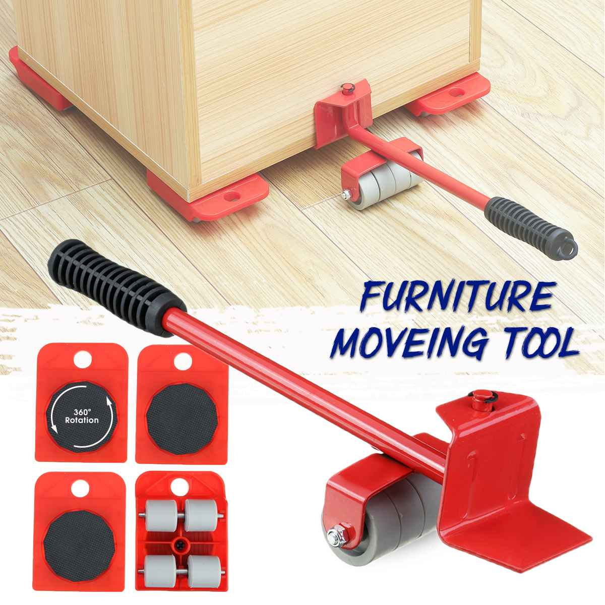 5Pcs Furniture Lifter Mover Furniture Moving Transport Set Heavy Hand Tool Set Mover Roller + Wheel Bar