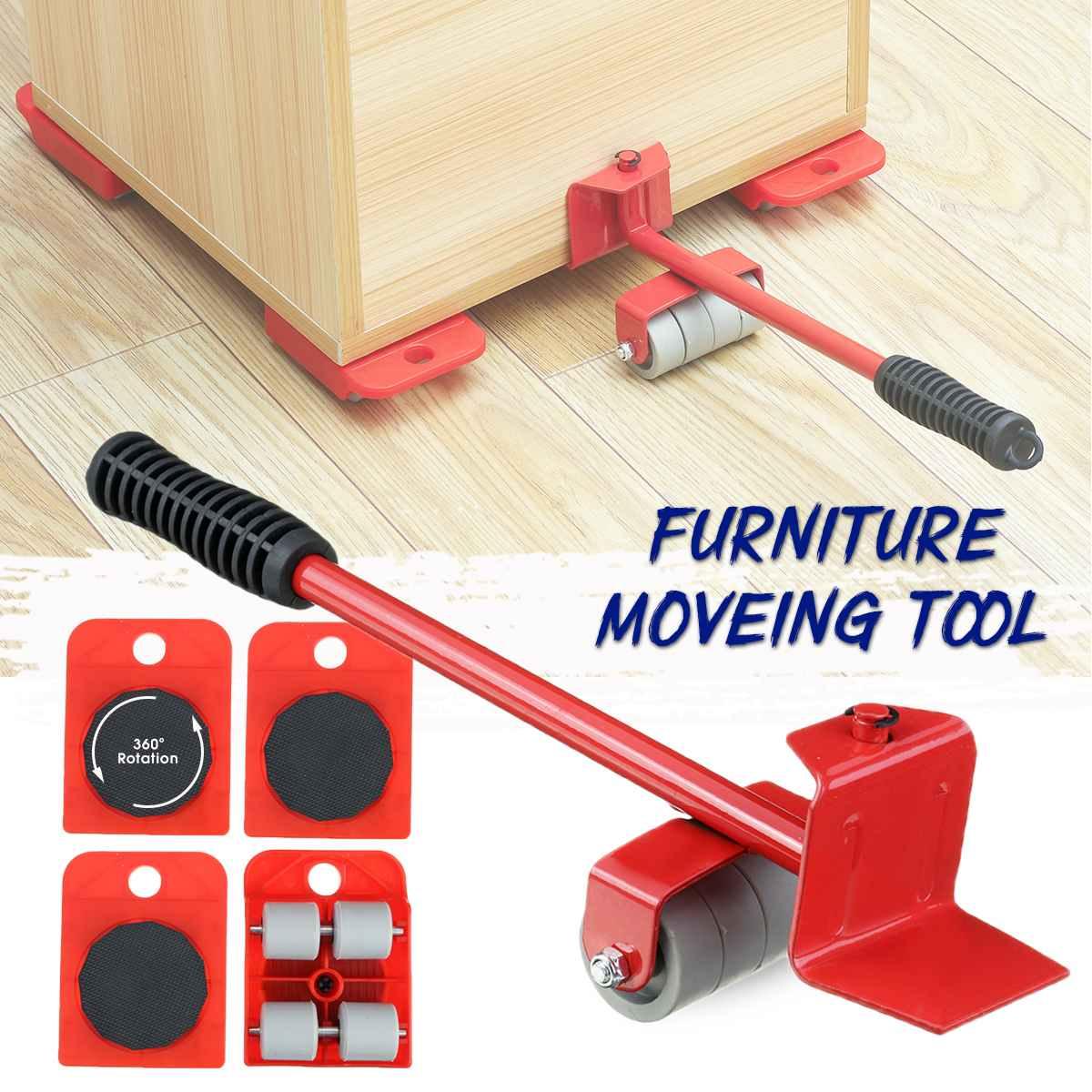 5Pcs Furniture Lifter Mover Furniture Moving Transport Set Heavy Hand Tool Set Mover Roller + Wheel Bar