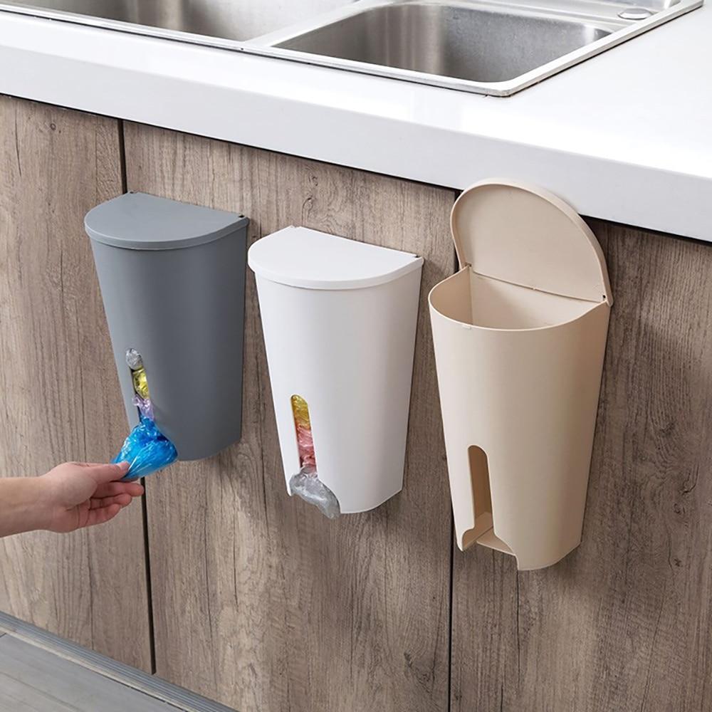 Home Grocery Bag Holder Wall Mount Storage Dispenser Plastic Kitchen OrganizerJT