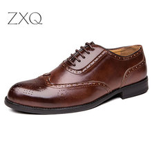 Plus Size 38-47 Men Brogue Fashion Oxford Dress Shoes Male Well-dressed Gentleman Handcrafted Footwear for Modern