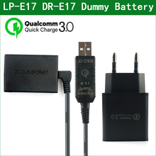 QC3.0 USB إلى LP E17 LP E17 LPE17 الدمية بطارية ACK E17 DR E17 DC المقرنة لكانون EOS M3 M5 M6 M6 Mark2 ii ACKE17