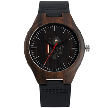 Fashion Wooden Watches Natural Ebony Wood Hollow Quartz