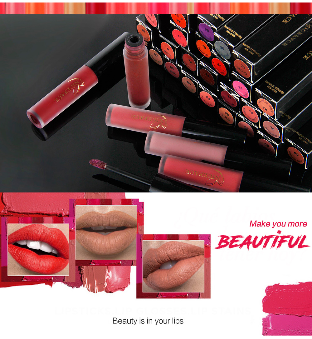Waterproof Liquid Lipstick Matte Long Lasting Makeup Lips Balm Non-stick Cup Matt Nude Lip Gloss Women Makeup Cosmetics Lipstick