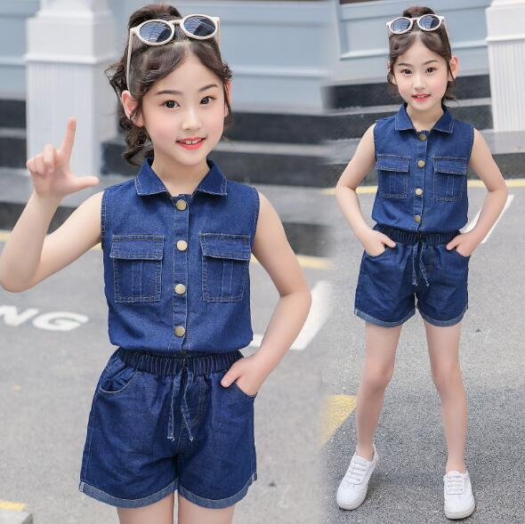 Girls Clothes Set Summer Teens Kids Clothing Children Sports Suit Fashion Denim Girls Sets Casual Outfits 4 6 7 8 9 10 12 Years