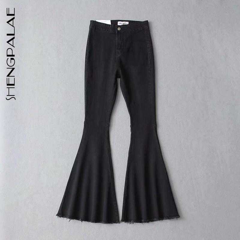 SHENGPALAE 2020 New Summer Casual Jeans Woman Long Trousers Cowboy Female Loose Streetwear Vintage Flare Pants ZA4158
