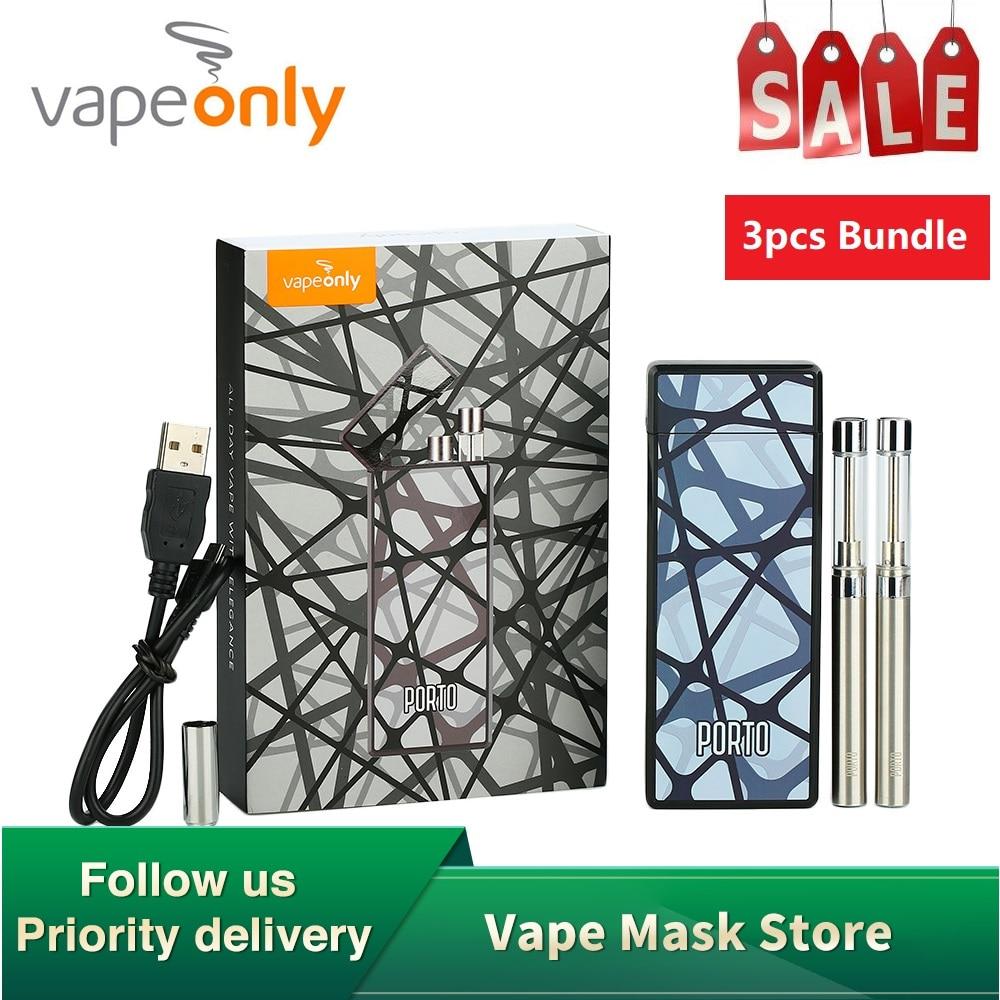 3 pièces d'origine VapeOnly Porto PCC Kit de démarrage avec 800mAh étui de charge et double 180mAh Cigarette électronique pour e-cig Vape démarreur