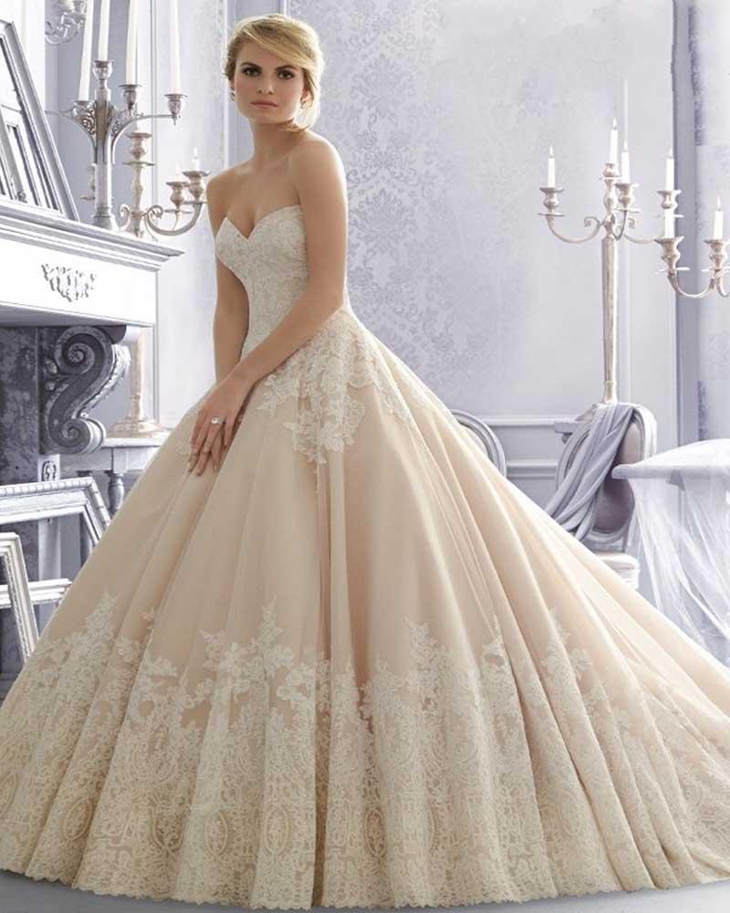 Vestidos De Novia 2015 Champagne Lace Wedding Dress Ball Gown Bridal Dresses Vintage Wedding Dress Gowns Robe De Mariee 2015