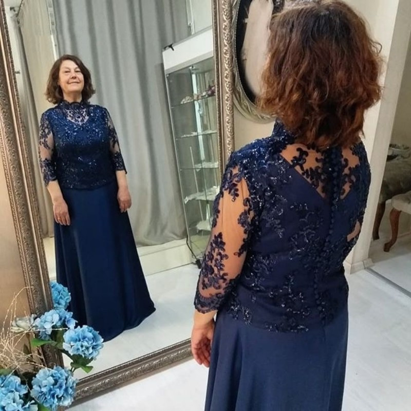 Navy Blue Chiffon Groom Vestido Novia Evening Party Gown Plus Size A-Line Wraps Formal Women 2018 Mother Of The Bride Dresses