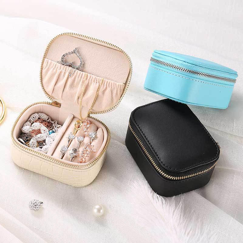 Protable Jewelry Necklaces Box PU Leather Travel Earring Case Storage Boxes Collection Necklace Makeup Accessories Supplies