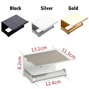 Image 2 - Soporte de papel higiénico para baño soporte de papel de váter de aluminio espacial montado en la pared para teléfono, color negro, plateado y dorado, con estante