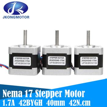 Jkongmotor Nema 17 silnik krokowy 42 silnik Nema17 silnik krokowy 40mm 42BYGH 1 7A 42N cm silnik krokowy 4-realizacji dla CNC 3D drukarki XYZ najczęściej oglądane- tanie i dobre opinie CN (pochodzenie) Rohs 1 8degree HYBRID JK42HS40-1704 42N cmN cm 150g cm 54g cm2 Nema 17 Stepper Motor 2 55V 1 5Ω 2 3mH