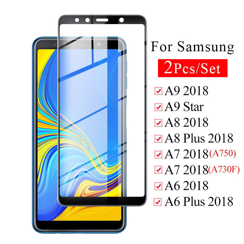 2 Pcs Set Kit Safety <font><b>Glass</b></font> on For <font><b>Samsung</b></font> Galaxy A9 A7 A8 A6 Plus 2018 Tempered Protective <font><b>A</b></font> 9 8 6 A8plus Screen Protector Film image