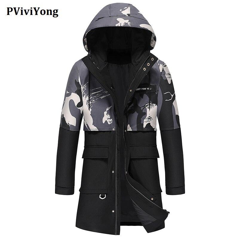 PViviYong 2019 Winter new fashion high quality hooded collars 80% white duck   down   jacket , long zipper parka men   coat   YR8103
