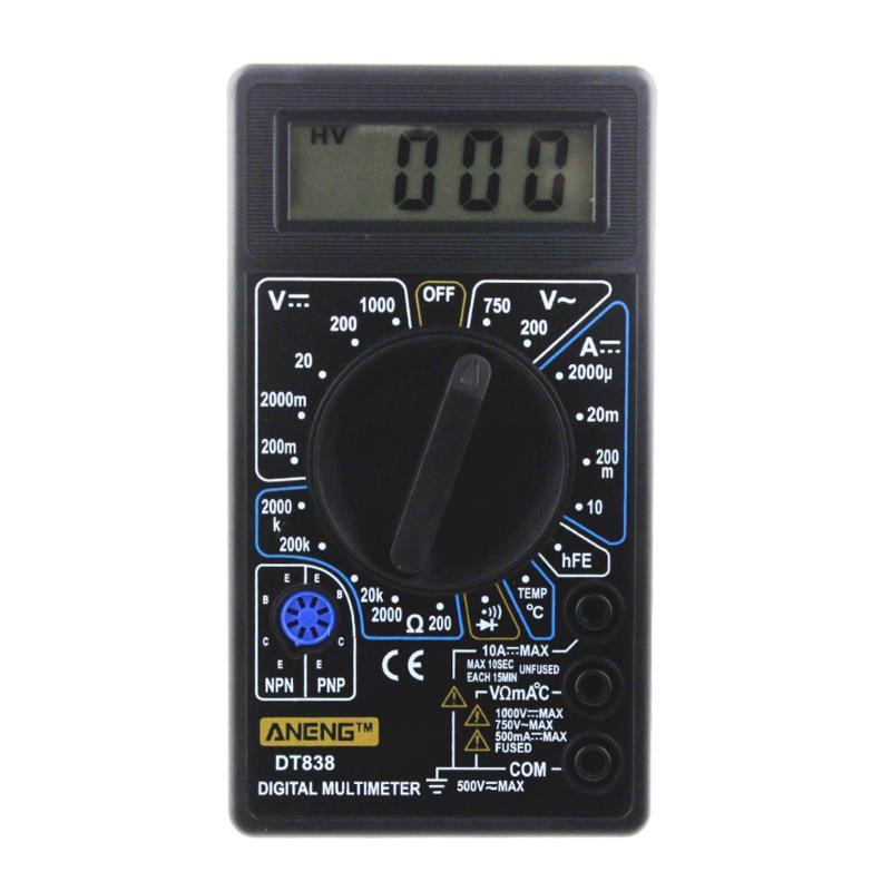 DT-838 LCD Digital Multimeter Electric Voltmeter Ammeter Tester AC/DC 750/1000V Amp Volt Ohm Portable Electric Multi Tester Tool