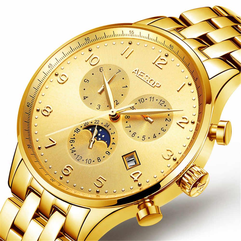 ايسوب الميكانيكية ساعة رجال الأعمال الفاخرة العلامة التجارية مضيئة الفولاذ المقاوم للصدأ حزام المعصم رجالي ساعات أوتوماتيكية ساعة رجل Relogio