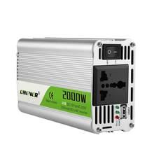 Портативный автомобильный инвертор напряжения, 2000 Вт, с 12 В постоянного тока на 220 В переменного тока, зарядное устройство, преобразователь, ...