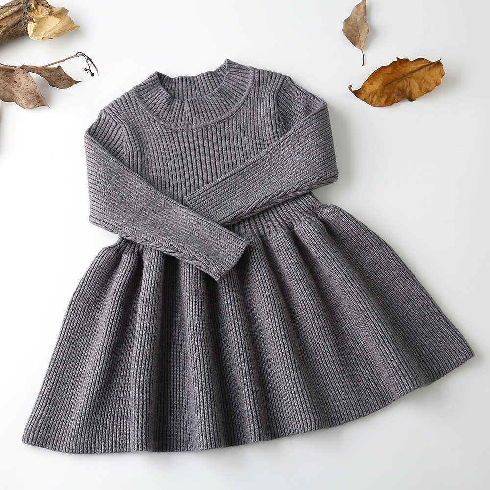 2020 Autumn Winter Girls Wool Knitted Sweater Baby Girl dress Girls Dresses For Party And Wedding Baby Girl Clothes 3