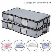 2 uds plegable de almacenamiento bajo la cama bolsas debajo base gruesa transpirable de organizador de ropa a prueba de polvo clasificación caja con cremallera