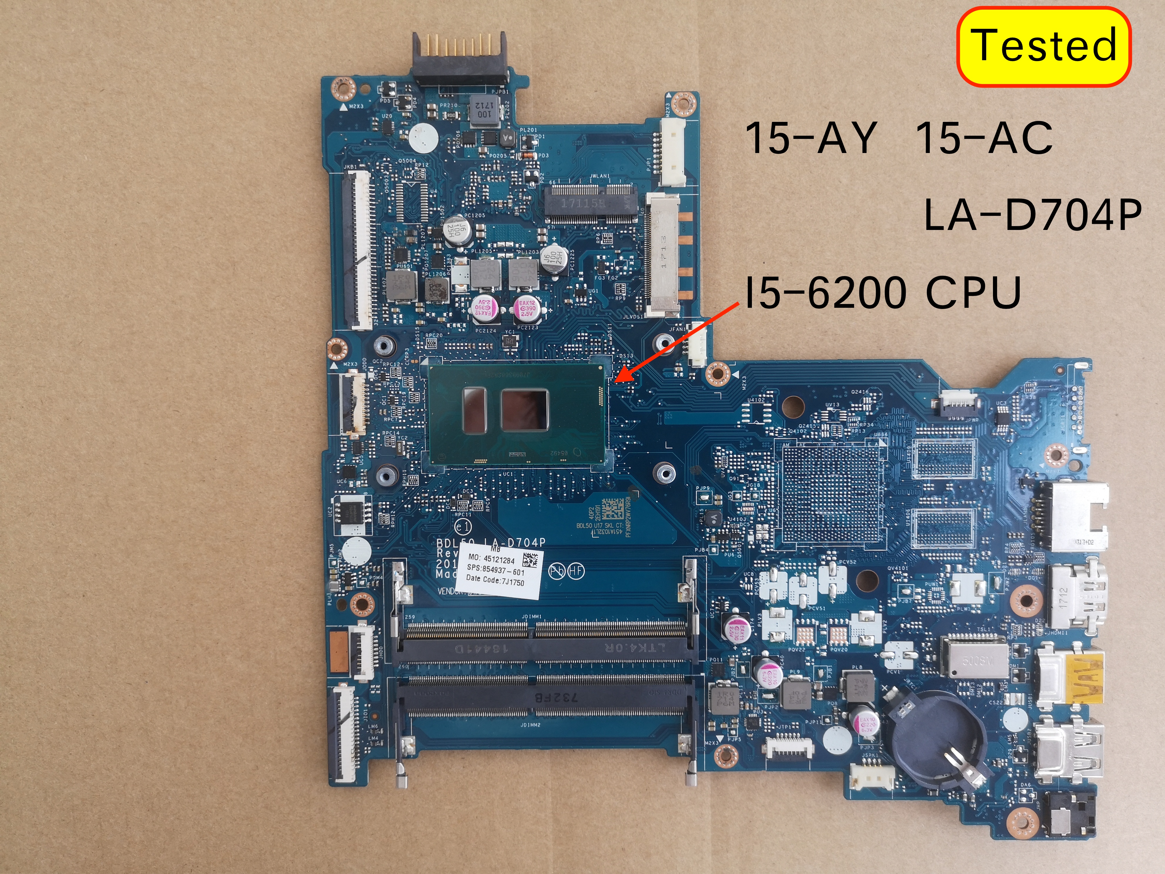 854937-601 854937-001 For HP 15-AY 15-AC Laptop Motherboard BDL50 LA-D704P SR2EY I5-6200U CPU